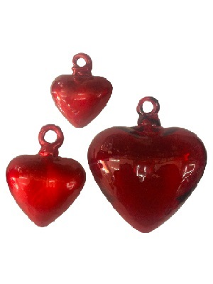 AMBER RIM GLASSWARE / Red Blown Glass Hanging Hearts 2 Lge 2 Med and 2 Small